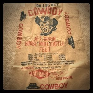 Fabulous vintage cowboy cattle feed sack